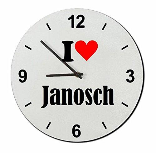 Druckerlebnis24 Glasuhr I Love Janosch eine tolle Geschenkidee die von Herzen kommt| Wanduhr| Geschenktipp: Weihnachten Jahrestag Geburtstag Lieblingsmensch