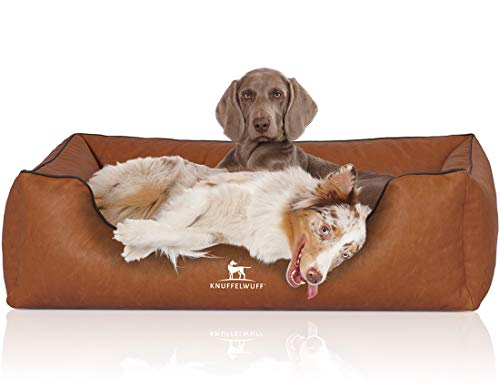 Knuffelwuff Hundebett Henderson aus marmoriertem Kunstleder XXL 120 x 85cm Rusty