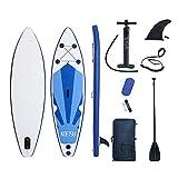 lucear Tavola Gonfiabile Paddle Board Stand Up SUP Nero Pagaia in PVC Include Pompa Borsa da Trasporto e Accessori Surfboard Tavola Paddle con Sedile Max 120 kg (Blue 320X76X15cm)