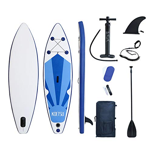 Tabla Sup Hinchable, Hinchable de Paddle Surf, Tabla de Surf Hinchable, Tabla de Paddle Surf, Sup Kit con Remo de Aluminio + Bomba +Accesorios Completos (Blue 320X76X15CM)
