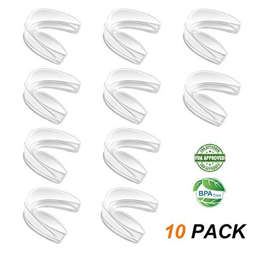 Coolrunner Mouth Guard Sports, 10 Pack Athletic Mouth Guards, Professional Moldable Youth Mouthguard for Maximum Protection, Customizable for Comfort(12 Years or Older) (Transparent)