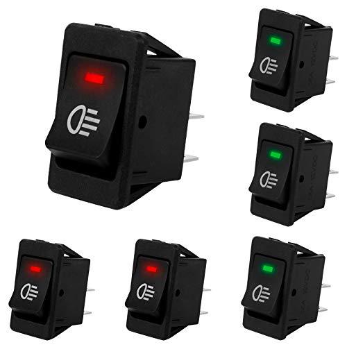 Interruptor de palanca basculante de luz antiniebla LED automática de 6 piezas 12VDC / 35A, luces indicadoras LED de encendido/apagado de 4 pines para faros antiniebla