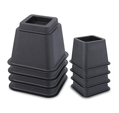 Juvale - Elevadores ajustables para patas de camas y otros muebles. Material resistente que soporta 499 kg. Color negro, pack de 8 en 7,6, 12,7 y 20,3 cm.