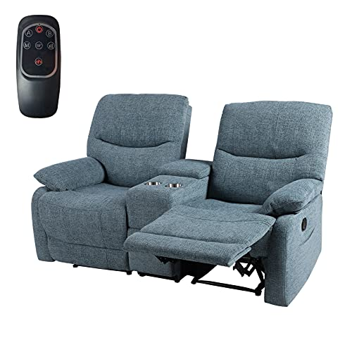 JOVNO Recliner Sofa, Double Reclining Loveseat with Cup Holder, Fabric Theater Seating with Console Slate for Living Room Home Furniture [Blue] (Blue)