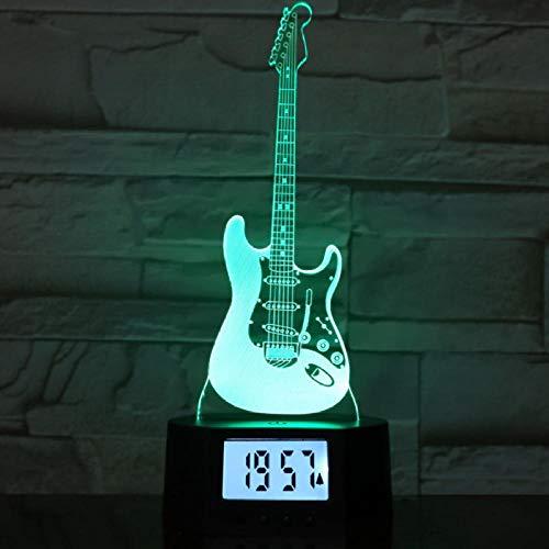 WPYDHM muziekinstrument-gitaarvorm, basis van het nachtlamp-wekker 3D, kleurrijke stijgingslamp, geleid licht