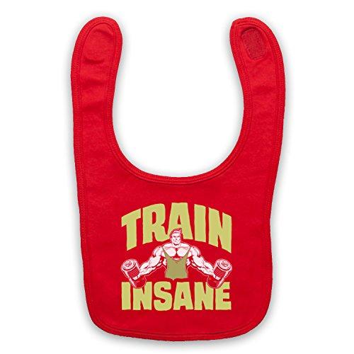 Train Insane Gym Workout Slogan Baby Latzchen, Rot