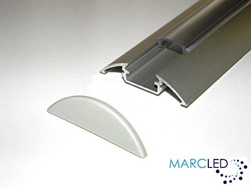 5 x aluminium profiel P4 (geanodiseerd, zilver) voor LED-strips 1 m met transparante afdekking (PMMA) en afdekkap; aluminium Surface Mounted LED Strip Light Profile; geanodiseerd zilver, set met transparante cover (materiaal: PMMA) en twee eindcaps; 1000 mm