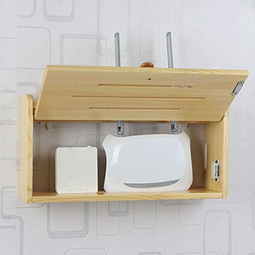 xxz WiFi Router Shelf,Caja de Almacenamiento WiFi de Madera Maciza montada en la Pared,Caja de disposición de Cables de protección de zócalos,Las Cajas De Almacenamiento De WiFi