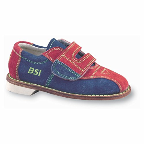 BSI Boys Suede Rental Bowling Shoes- Hook and Loop (Youth 4 1/2 M US, Red/Blue)