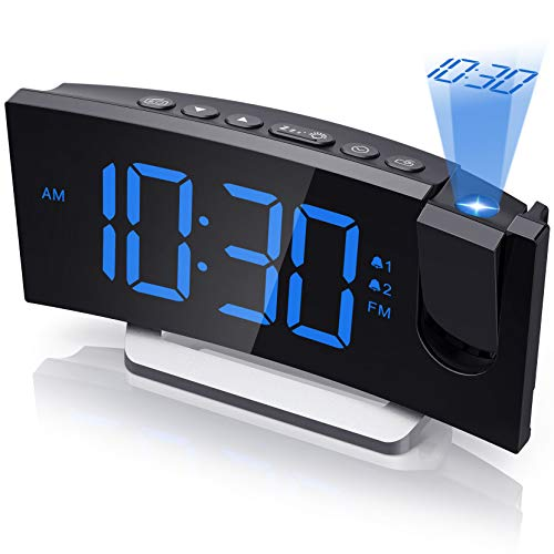Projection Alarm Clock, Bedroom Clock Radio with USB Charger, 0-100% Full Range Brightness Dimmer, Dual Alarms with 5 Sounds for Heavy Sleeper, Snooze, 5.5'' Large Curved LED Display
