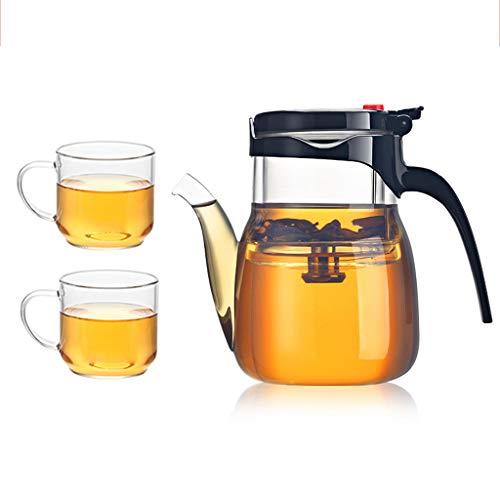 Tetera LITING_Wang Taza Flotante de Cristal Taza Flotante de la Burbuja de Cristal Espesada Resistente al Calor Juego de té Lleno del Filtro de un botón con la Taza pequeña