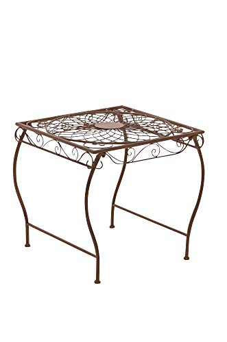 CLP Eisentisch Zarina in nostalgischem Design I Robuster Gartentisch mit kunstvollen Verzierungen, Farbe:antik braun