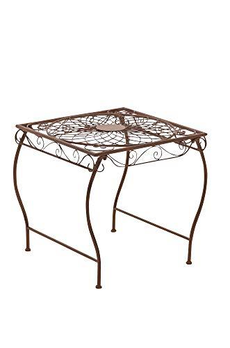 Mesa de Jardín Zarina | Mesa de Exterior en Hierro Forjado I Mesa Cuadrada de Terraza Estilo Rústico I Color:, Color:Antiguo marrón