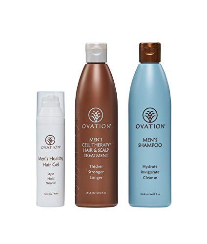 Ovation Hair Men's Max Pack - Get Stronger, Thicker, and Longer Hair with Natural Ingredients. - Men's Shampoo, Healthy Hair Gel, and Cell Therapy Hair and Scalp Treatment. - Made in the USA