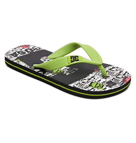 DC Shoes Boys Spray Graffik-Sandalen für Jungen Flip-Flop, BKI, 28 EU