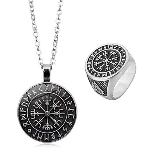 PuuuK Nordic Vikiny Compass Norse Amuleto Colgante Colgante Anillos Adornos Regalos De Joyas para Hombres Y Mujeres,12