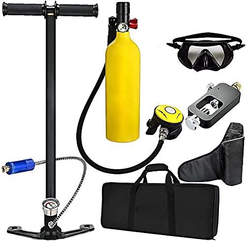 Equipo de Buceo de Buceo 1l Buceo Tanque de Oxígeno Aliento Dispositivo subacuático 15-20mins Capacidad Recargable Cilindro de oxígeno de Tanque de Aire vacío (Color: Negro) (Color: Verde)-Yellowc