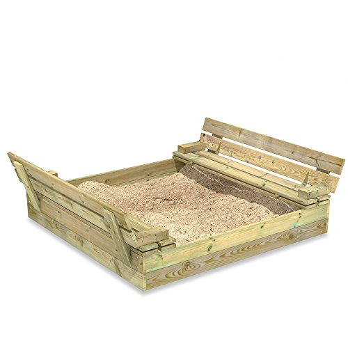 WICKEY Bac à sable Flip, Sablière en bois pour enfants 120x125 cm avec couvercle à charnière
