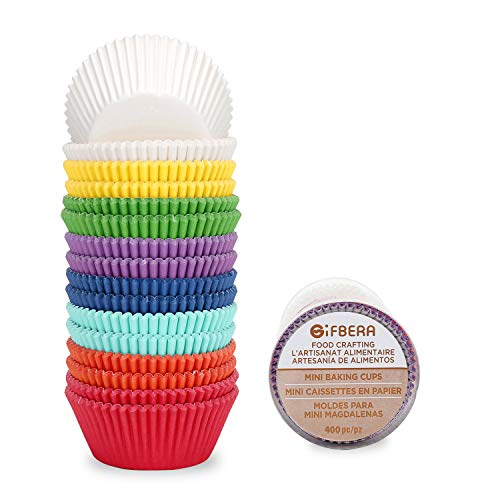 Gifbera Rainbow Mini Cupcake Liners Bright Colors Paper Baking Cups 400-Count