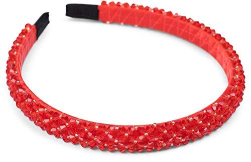 styleBREAKER Dames haarband smal met kunststof kralen, retro stijl haarband, hoofdband 04027011, Farbe:Rood