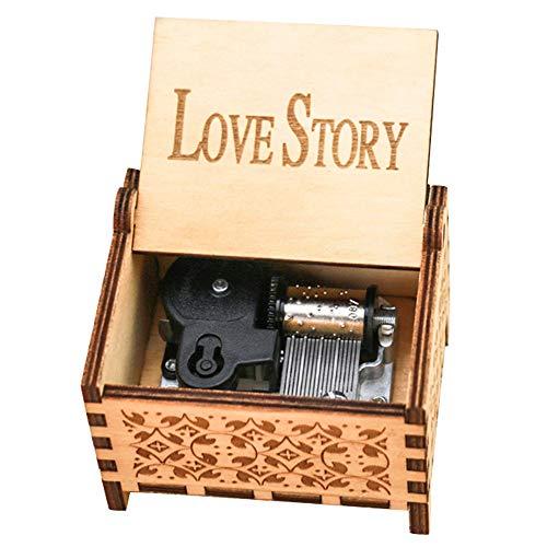 YouTang Love Story - Caja de música (18 notas, mecanismo de cuerda de madera, grabado, caja de música, color marrón