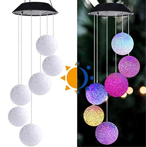 Solar Wind Chime Light Rice Ball Color Changing Light String LED Outdoor Garden Decoration Hanging Light