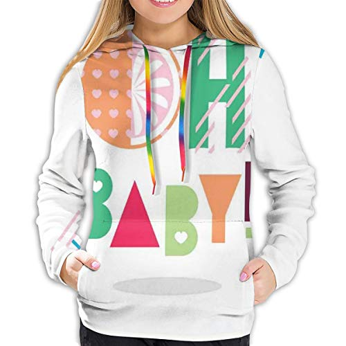 Women's Hoodies Tops,Flat Art Style Calligraphy Oh Baby Phrase with Colorful Geometric Retro Ornaments,Lady Fashion Casual Sweatshirt(XL)
