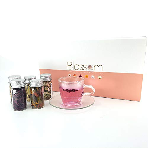 The Elixir Premium Handmade Wildflower Tea Green Tea, Finest Quality 5 Assorted Blooming Tea Flowers Collection - Robinia Pseudoacacia, Marigold, Cockscomb, Magnolia, Chrysanthemum, South Korea