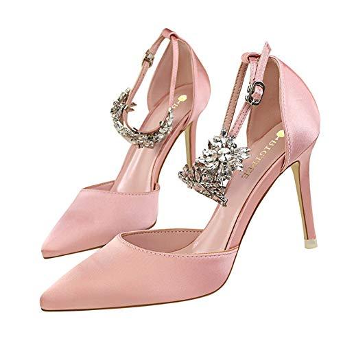 Moquite Sandalias Mujer Decoración de Cristal Tacón Alto Zapatos Apuntado Prom Verano...