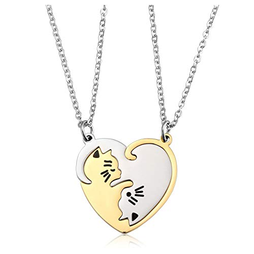 Jovivi Personalized Custom 2pcs Cat Heart Couples Necklaces His&Hers Jewelry Stainless Steel Silver Gold Yin Yang Puzzle Piece Pendant Necklace for Lover Couples