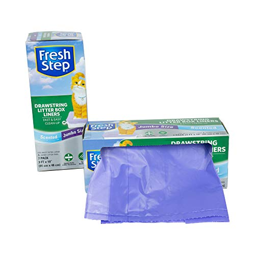 Fresh Step Drawstring Cat Litter Box Liners, Scented, Jumbo Size, 36' x 19' - 7 Count | Kitty Litter Bags