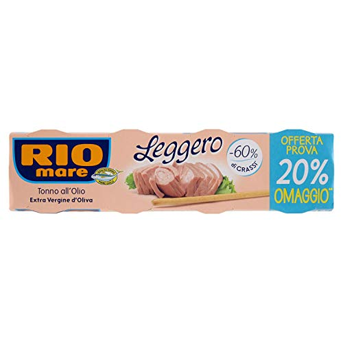 Rio Mare - Tonno Leggero all'Olio Extra Vergine di Oliva, Qualità Pinne Gialle, non si Sgocciola, 4 Lattine da 60 g