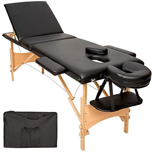 TecTake Mobile Massageliege 3 Zonen höhenverstellbar inkl. hochwertiger Kopfstütze + Tasche - diverse Farben - (Schwarz | Nr. 401466)