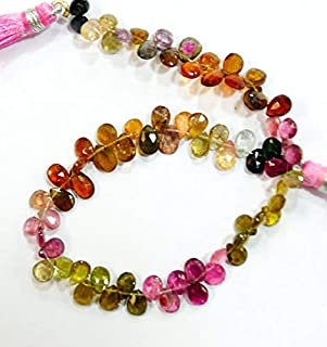 Jewel Beads 50% Off Natural gem Stone Multi Color Tourmaline pear Shape briolettes Beads Complete Strand top Quality 8.5 inches 4 X 5 to 5 X 6 mm Code-AUR-60514