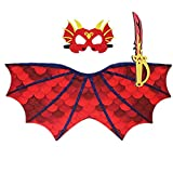 3pc/Set Kids Red Dragon Dinosaur Wing Costume Cape Eva Sword and Mask Costume Cosplay Green