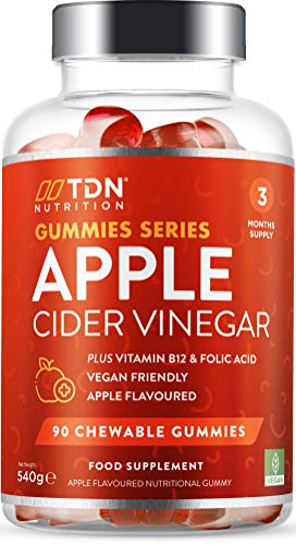 Apple Cider Vinegar Gummies - 90 Gummies - 1000mg ACV per Serving with The Mother - Added Vitamin B12 & Folic Acid Plus Beetroot & Pomegranate Extracts - Vegan - No Artificial Colours or Flavours
