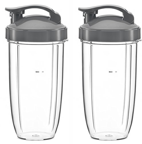 32oz Replacement Cups with Flip Top To Go Lid Compatible With NutriBullet 600w and Pro 900w Blender...