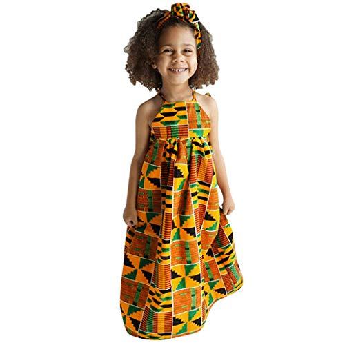 LEXUPE Kleinkind-Baby-afrikanischer Druck Weg vom Schulter-Haarband-Prinzessin Casual Dress(Mehrfarbig,130)