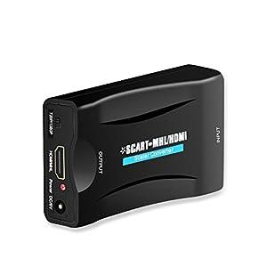 REFURBISHHOUSE Scart a HDMI 1080p 60Hz Adaptador SCART Enchufe y USA Caja conversor analogica a Digital Adaptador Scart HDMI de Audio Video Soporte PAL/NTSC/SECAM para PS4 / PS3 / TV/DVD