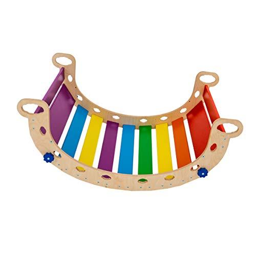 Woodandhearts Balance Board Montessori - Pikler Arch Rainbow Rocker - Waldorf Wooden Rocking Play (N.Wood+Rainbow) - Climbing Arch for Kids (Standard Size)