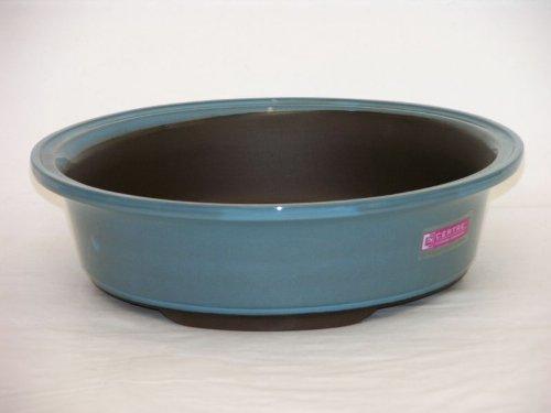Vaso bonsai rotondo in gres smaltato 8049 -diametro cm.15x6 h. - Colore Azzurro Cielo -CERTRE