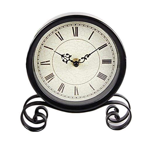 OOOP Geen tweedehands eenvoudige smeedijzeren klok Klassieke Romeinse numerieke klok Thuis desktop klok