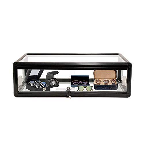 HK FIXTURES Commercial Grade Elegant Countertop Black Aluminum Display Showcase - 30' W x 18' D x 9' H - Black