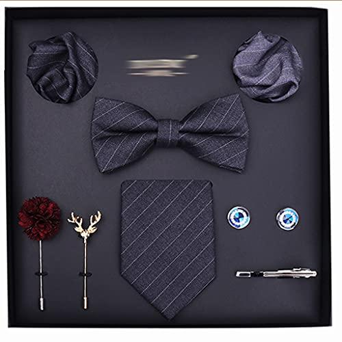 TOSLEJF Juego de Corbatas para Hombres 8cm Corbatas Bolsillo Cuadrado Seda pañuelo pañuelo pañuelo Corbata Corbata Clip y Broche (Color : B)