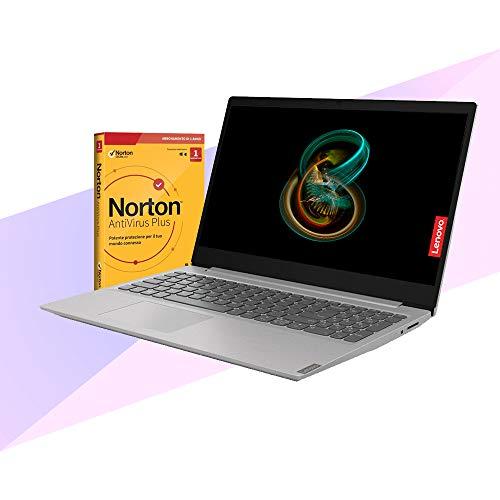 Notebook Lenovo Silver pc portatile Display 15,6' Ram 4Gb DDR4, SSD M.2 da 256Gb , Cpu Amd A4 3020 di ultima generazione, WebCam, Hdmi, Windows 10 Pro, Pc Pronto All'uso + ANTIVIRUS