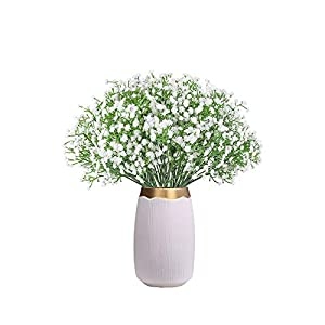 CHAMER 16 Pcs Baby Breath Artificial Flowers Fake Gypsophila Bouquets Fake Real Touch Flowers for Wedding Party Home Decoration(White)