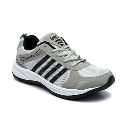 ASIAN Men's Grey Black Mesh Shoes (UK-8)