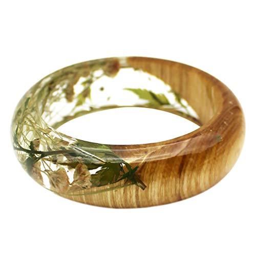 Happyyami Harz Armband Armreif Harz Holz Transparent Getrocknete Gepresste Blume Gypsophila Schmuck Armband für Damen Frauen Mädchen