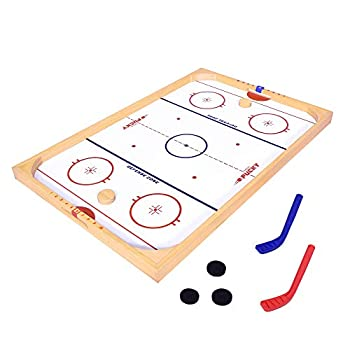 GoSports Hockey Ice Pucky Wooden Table Top Hockey Game for Kids & Adults - Includes 1 Game Board 2 Hockey Sticks & 3 Pucks