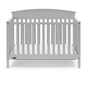 Graco Everly 5-in-1 Upholstered Convertible Crib with Reversible Headboard Pebble Gray/Gray Easily Converts to Toddler Bed Day Bed or Full Bed Adjustable Height Mattress (Mattress Not Included)